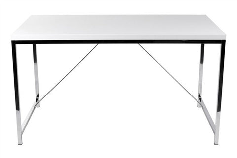 "53"" Modern White Lacquer & Chrome Executive Desk"