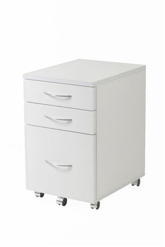 "Modern 47"" White Lacquer Office Desk with Drawers"