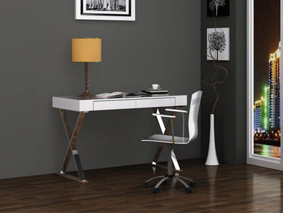 Modern White Lacquer & Stainless X-Frame Desk with Drawer