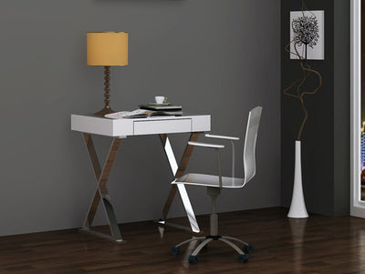 "27"" Modern White Lacquer & Stainless Steel Office Desk"