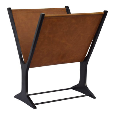 Elegant Aluminum & Brown Leather Magazine Rack