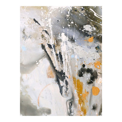"48"" x 70"" Orange, Black, & White Abstract Impressionist Wall Art"
