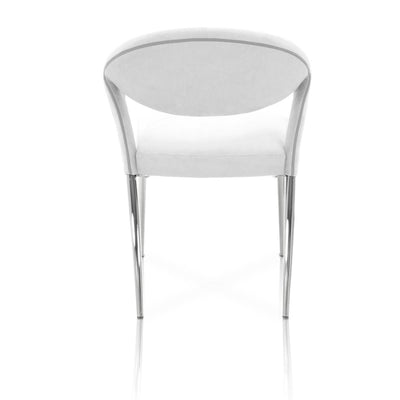 Tasteful Round Back Conference Chair in White & Chrome, Set of 2