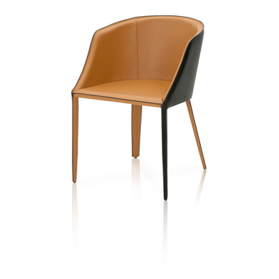 Elegant Saddle Leather Guest or Conference Chair With Moonlight Edge