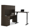 "71"" Dark Chocolate Desk with Hutch & Standing Desk Section"