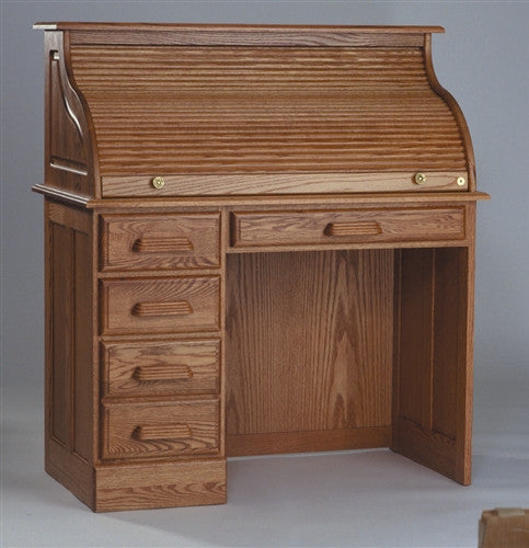 Handcrafted Solid Oak Single Pedestal Desk with Hutch