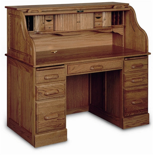 Solid Oak Double Pedestal Desk with Locking Tambour