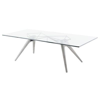 "94"" Clear Glass Conference Table with Concrete Base"