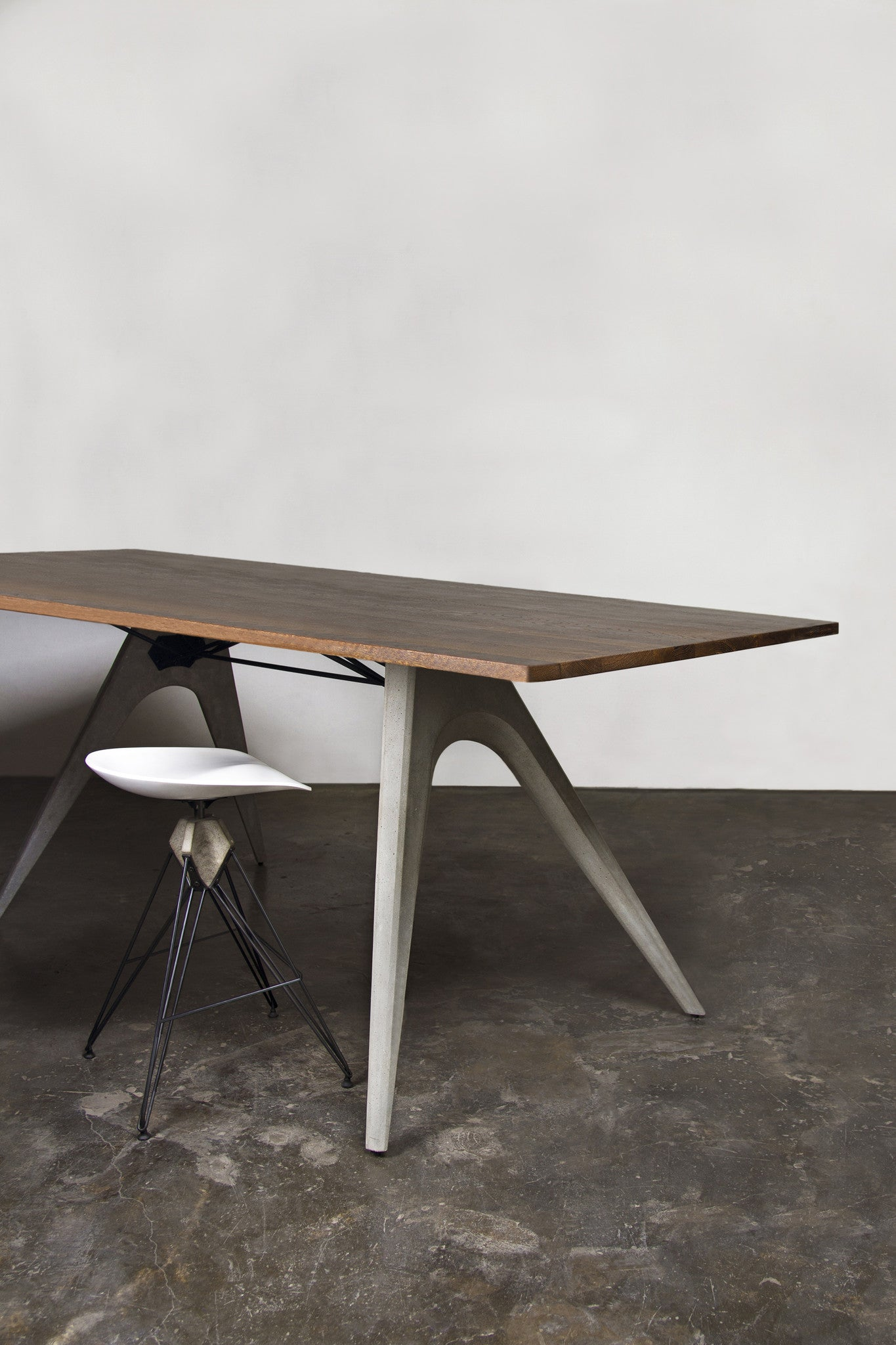 Modern Seared Oak Tall Desk Conference Table With Cast Concrete - Tall conference table