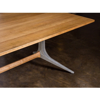 "Solid Oiled Oak 110"" Conference Table with Trestle Concrete & Oak Base"