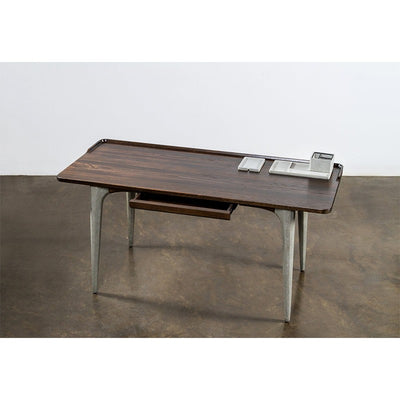 "63"" Solid Seared Oak Office Desk w/ Sleek Gray Concrete Legs"