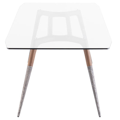 "102"" Clear Tempered Glass Conference Table w/ Silver Tapered Legs"