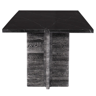 "86"" Black Marble Executive Desk or Meeting Table w/ Cerused Oak Base"