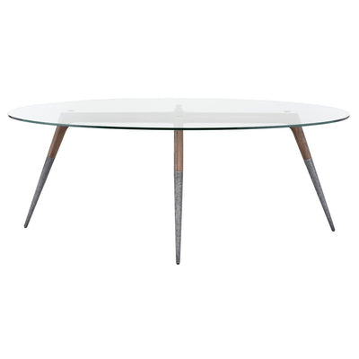 Innovative Round Clear Glass Meeting Table w/ Aluminum Tapered Legs