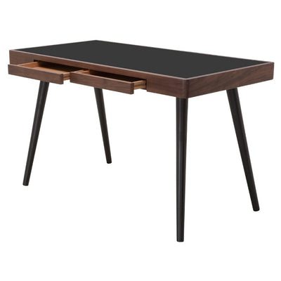 "49"" Walnut & Black Office Desk w/ Classic Design"