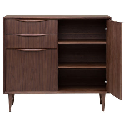 Mid-Century Sleek Walnut Storage Credenza