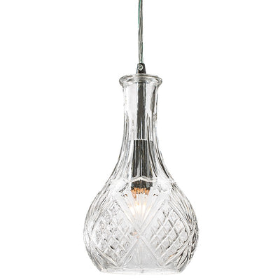 Vintage Pendant Light with Clear-Cut Glass Shade