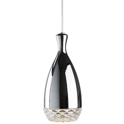 Chrome Steel and Clear Glass Pendant Light