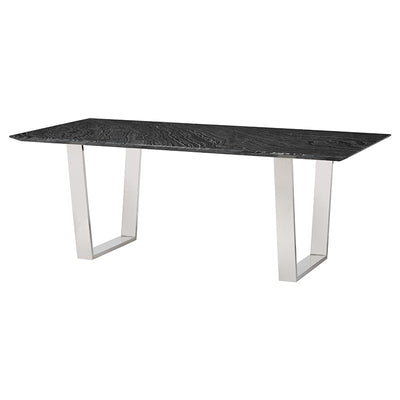"79"" Striking Black Wood Vein & Stainless Steel Executive Desk"