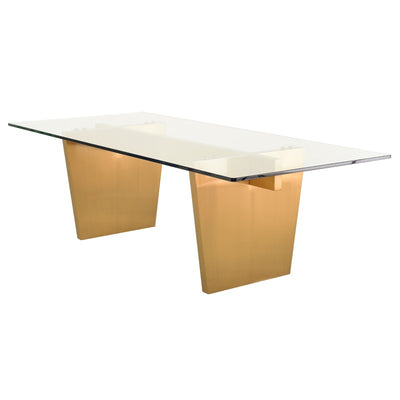 Clear Glass Top & Brushed Gold Conference Table