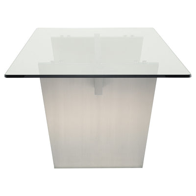 Stunning Clear Glass & Stainless Steel Conference Table
