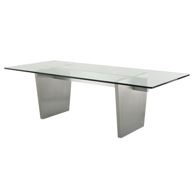 "94"" Elegant Clear Glass & Stainless Steel Conference Table"