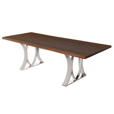 "78"" Sleek Seared Oak & Polished Steel Executive Desk"