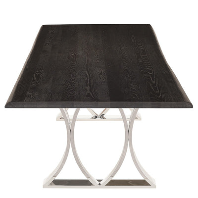 "96"" Sleek Oxidized Grey Oak & Stainless Steel Conference Table"