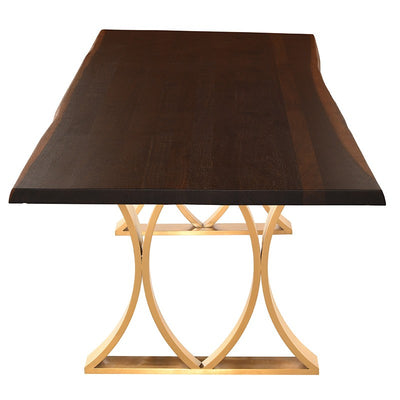 "78"" Bold Seared Oak & Brushed Gold Executive Desk/ Meeting Table"