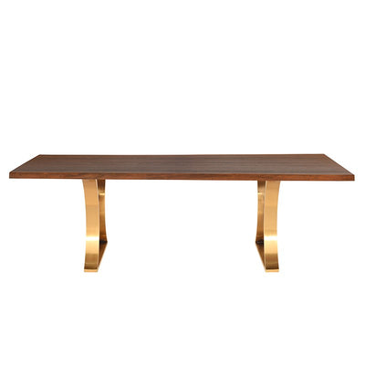 "112"" Bold Seared Oak & Brushed Gold Conference Table"