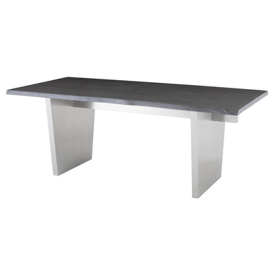 "78"" Oxidized Gray Oak & Stainless Steel Executive Desk or Meeting Table"