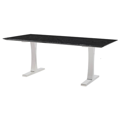 "78"" Elegant Executive Desk w/ Black Woodgrain Marble & Leg Options"