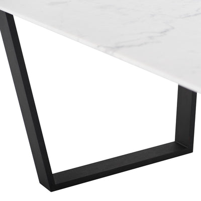 "79"" Gorgeous White Marble & Matte Black Steel Executive Desk"