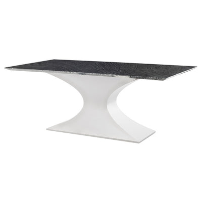 "79"" Black Wood Vein Marble & Stainless Steel Executive Desk or Meeting Table"