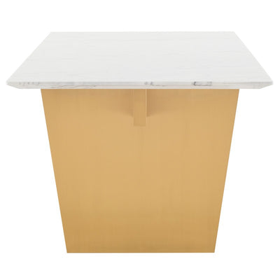 "78"" White Marble & Brushed Gold Executive Desk or Meeting Table"