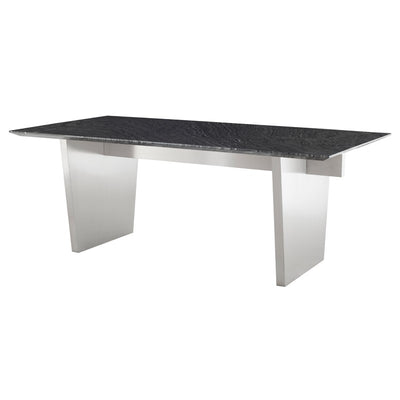 "78"" Elegant Black Wood Grain & Stainless Steel Executive Desk or Meeting Table"