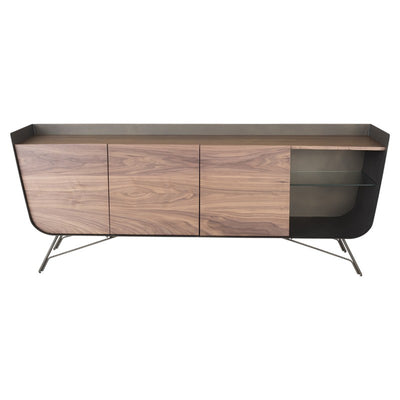 Walnut & Matte Bronze Storage Credenza w/ Glass Shelves