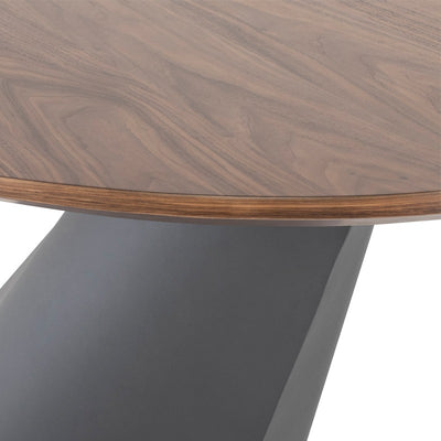 "78"" Fluid Oval Walnut & Bronze Executive Desk or Meeting Table"