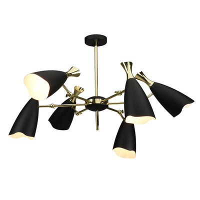 Polished 6-Light Gold and Steel Pendant Light with Black Shades
