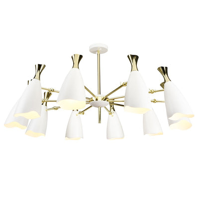 Elegant Polished Gold and Steel Pendant Light with Matte White Shades
