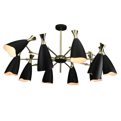 Polished Gold and Steel Pendant Light with Black Shades