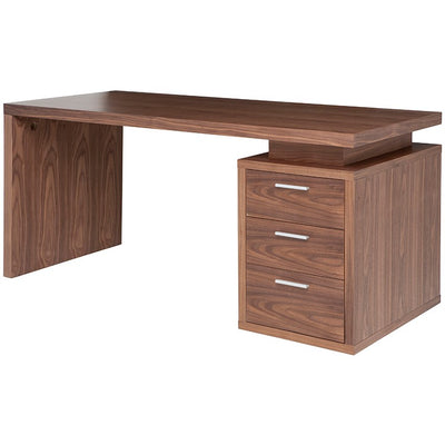 "Modern 63"" Executive Desk with Attached Pedestal in Walnut"