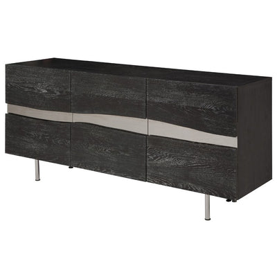 "78"" Chic Oxidized Oak Credenza w/ Horizontal Inlay of Steel"