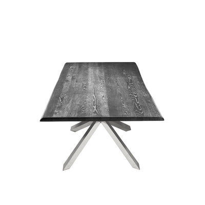 Oxidized Grey Oak & Polished Stainless Steel Conference Table w/ Live Edge