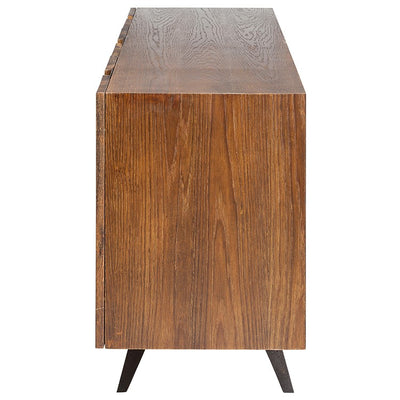 White Oak Vertical Stripe Storage Credenza