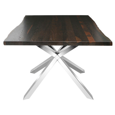 Dark Oak & Polished Steel Conference Table w/ Live Edge