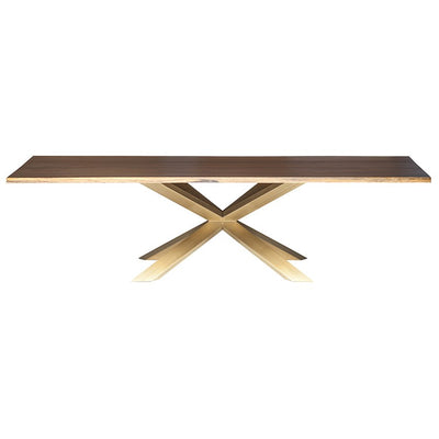Seared Oak & Brushed Gold Steel Conference Table w/ Live Edge (Multiple Sizes)