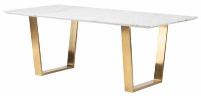 "79"" Uber Modern Office Desk with White Marble Top & Brushed Gold Stainless Steel Legs"
