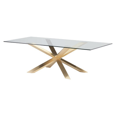 "79"" Glass Top & Brushed Gold Steel Executive Desk"