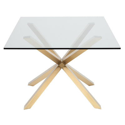 Modern Glass Top & Brushed Gold Steel Conference Table